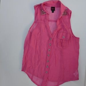 Pink Sparkly Sleeveless Blouse Studs Pockets